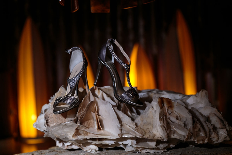 Silver wedding shoes for destination wedding
